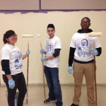 Gabby, Keven and Ahmeer painting