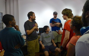 Tim (second from left) talking to the group about his game Jamestown +